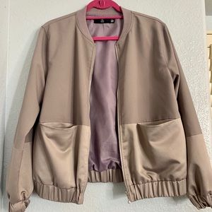 Missguided champagne and purple bomber jacket